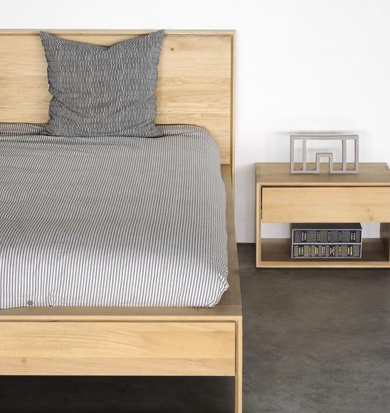51215 Oak Nordic II bed 51175 Nordic bedside table