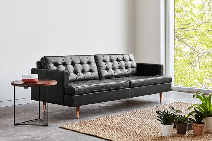 Archer Sofa Saddle Black Leather L02