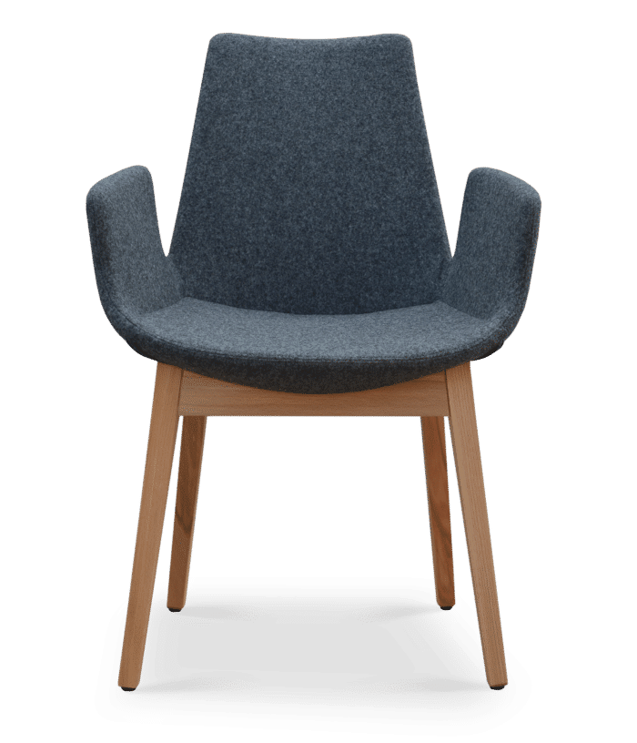Eiffel Wood Arm Natural Base Camira Wool Dark Grey