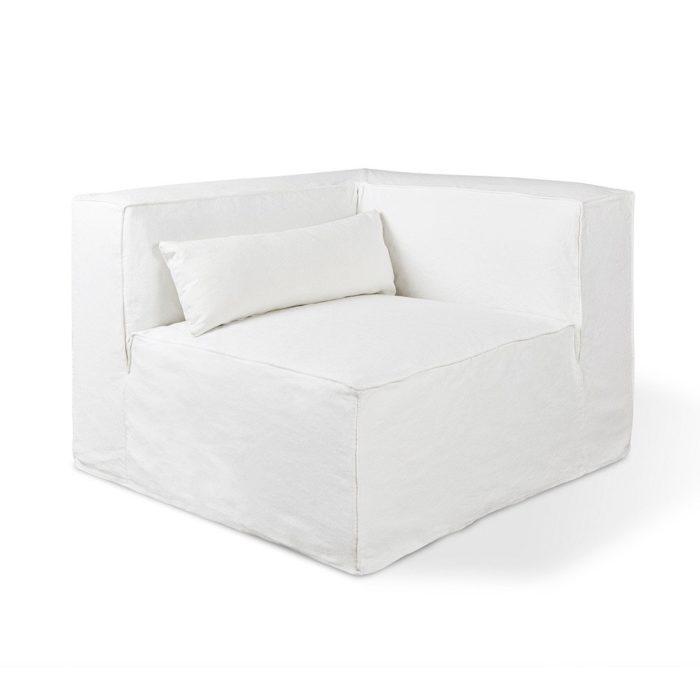 Mix Modular Slipcover Corner Washed Denim White P01