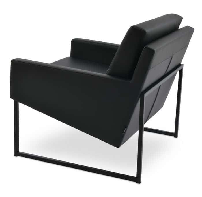 NOVA ARM CHAIR METAL BLACK PAINT F.SOFT BLACK LEATHERETTE