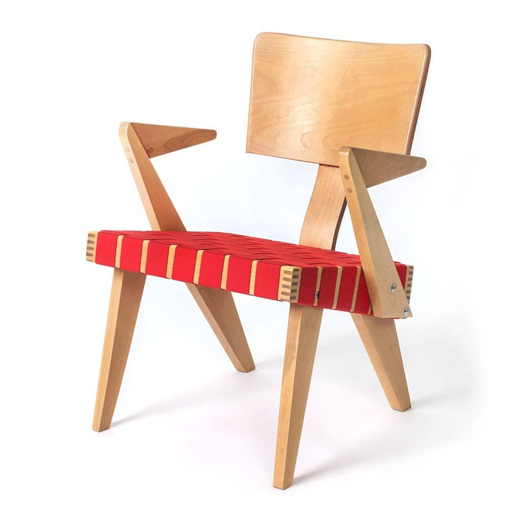 SpannerByGus LoungeChairWithArms Light Birch red