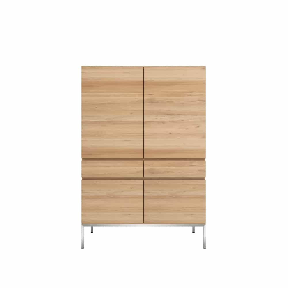 TGE 050954 Oak Ligna storage cupboard 4 opening doors 2 drawers 110x50x162