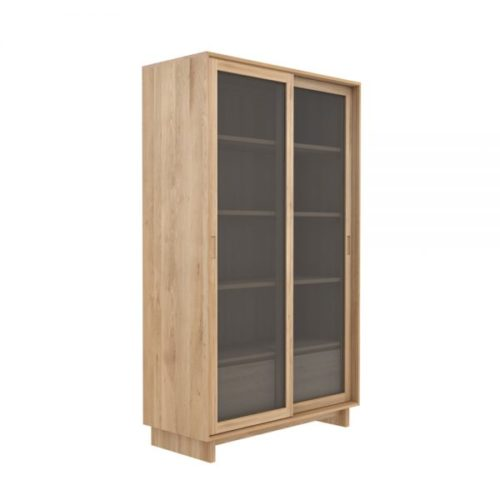 TGE 051455 Oak Wave book case 2 sliding doors 2 drawers 110x46x183 p 600x600