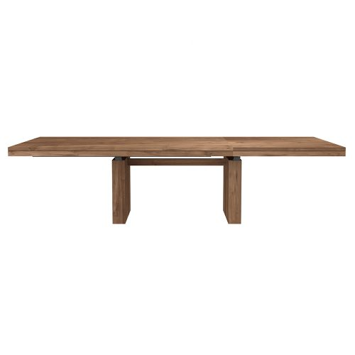 modern teak double extendable dining table