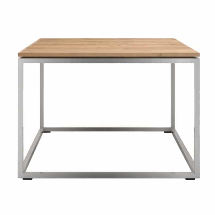 oak thin side table stainless steel frame 1