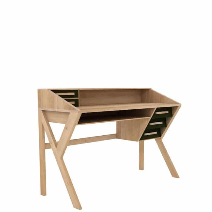 tge 045055 Oak Marius Origami desk 5 drawers black 135x55x94 p 1