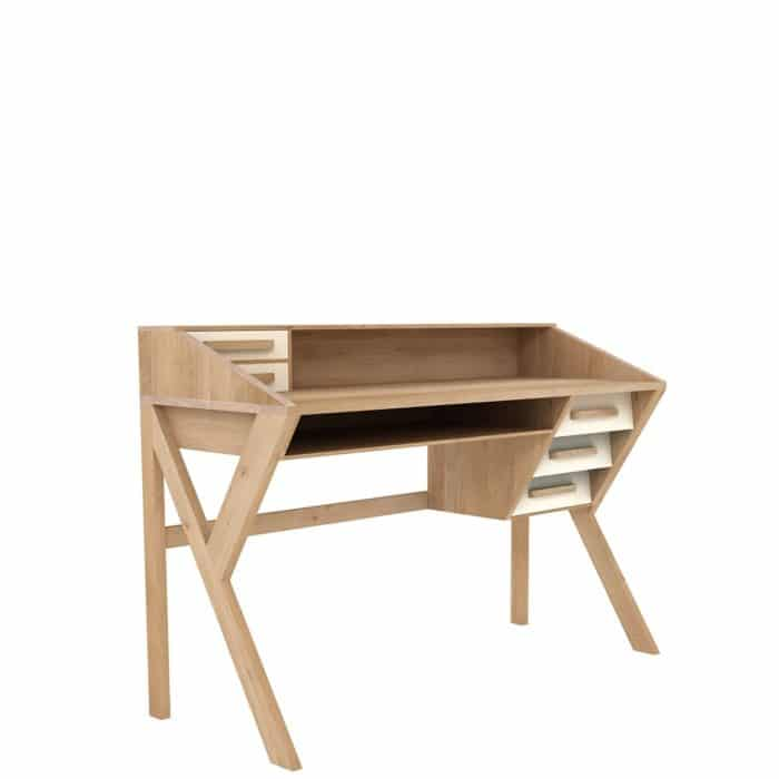 tge 045056 Oak Marius Origami desk 5 drawers cream 135x55x94 p 1