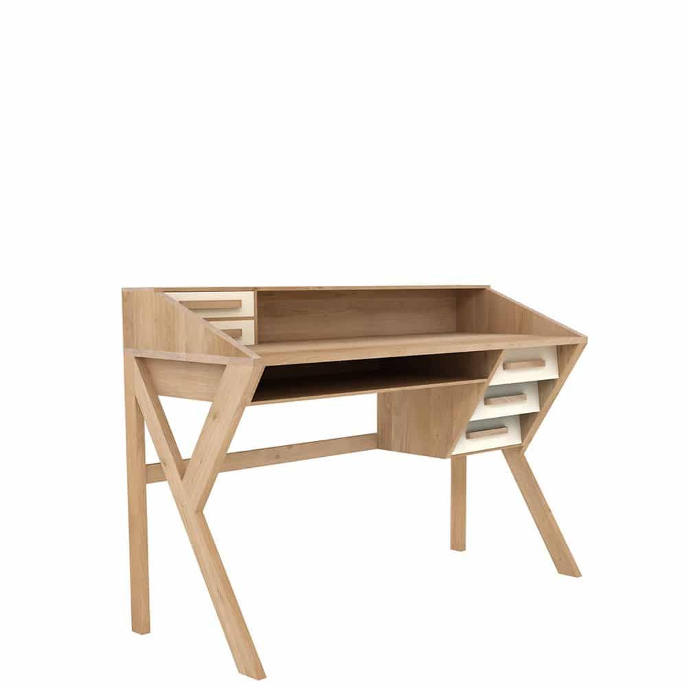 tge 045056 Oak Marius Origami desk 5 drawers cream 135x55x94 p 1