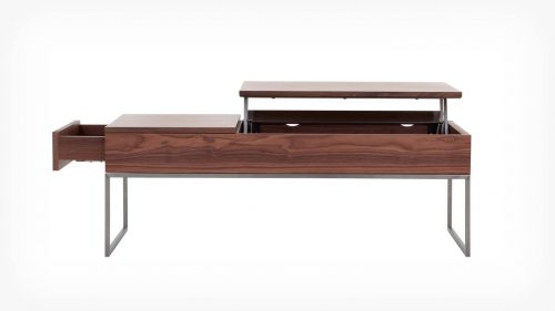 Walnut functional coffee table open side