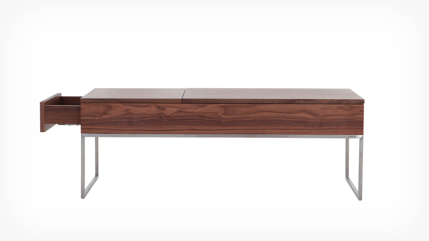 Walnut functional coffee table drawer side