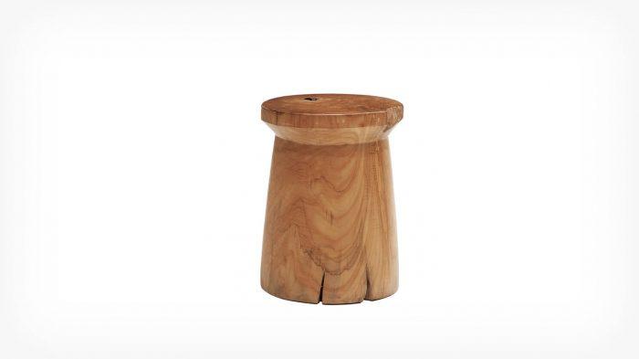 Teak round stool front