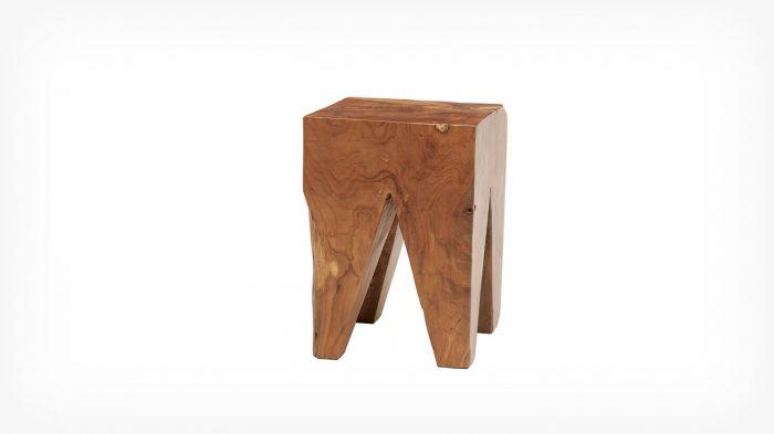 Teak square stool front