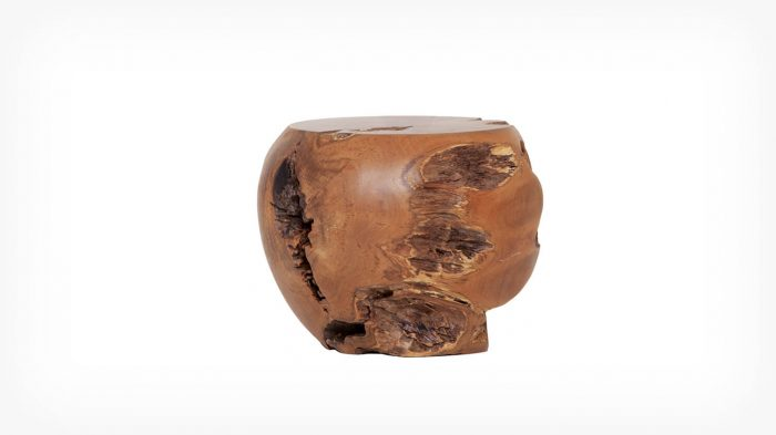 Teak mushroom stool front