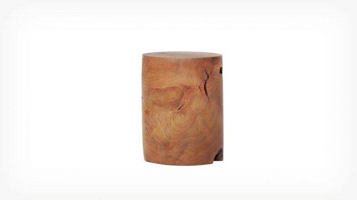 Teak cylinder stool front