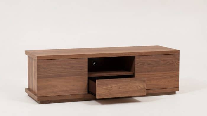 Walnut Plasma Unit Drawer Open
