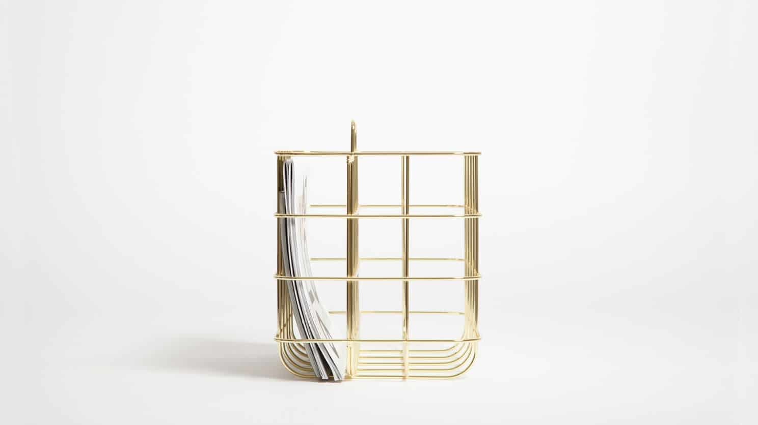3230 615 4 9 organization station magazine rack brass detail