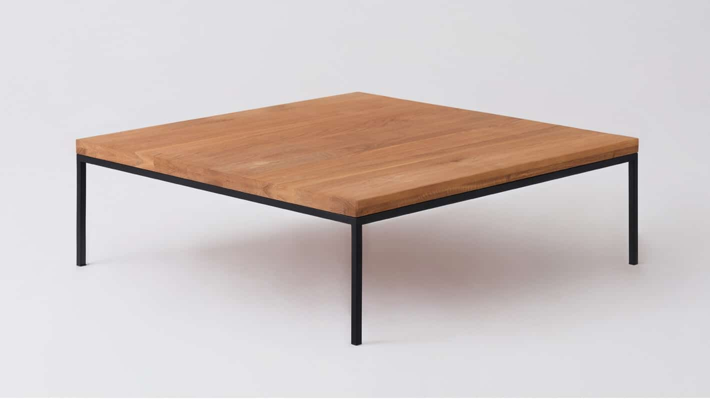 Oak black square coffee table