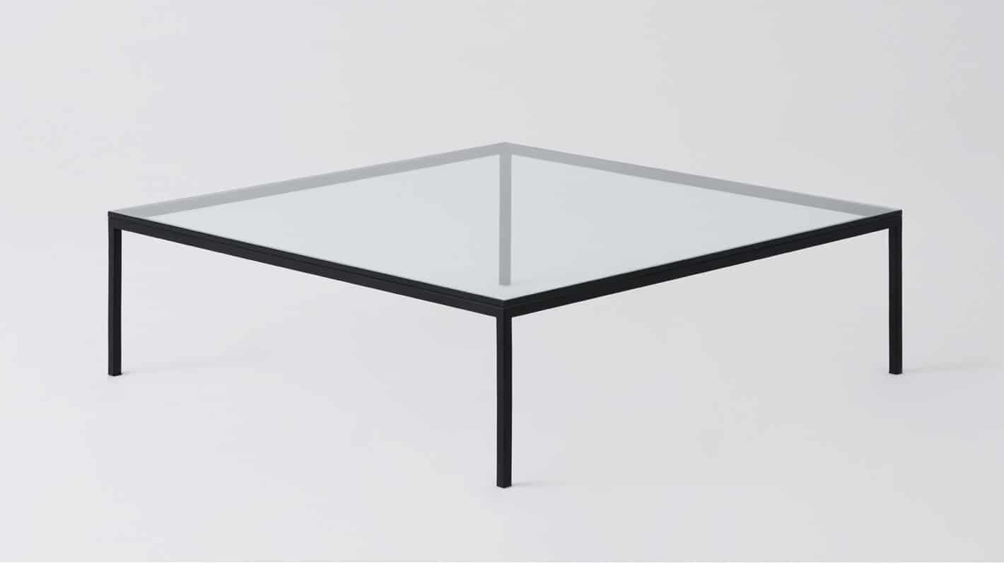 Glass black square coffee table
