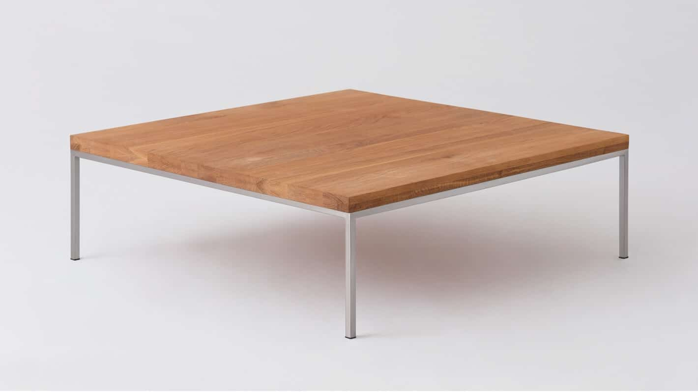 Oak steal square coffee table