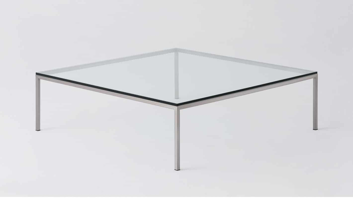 glass steal square coffee table