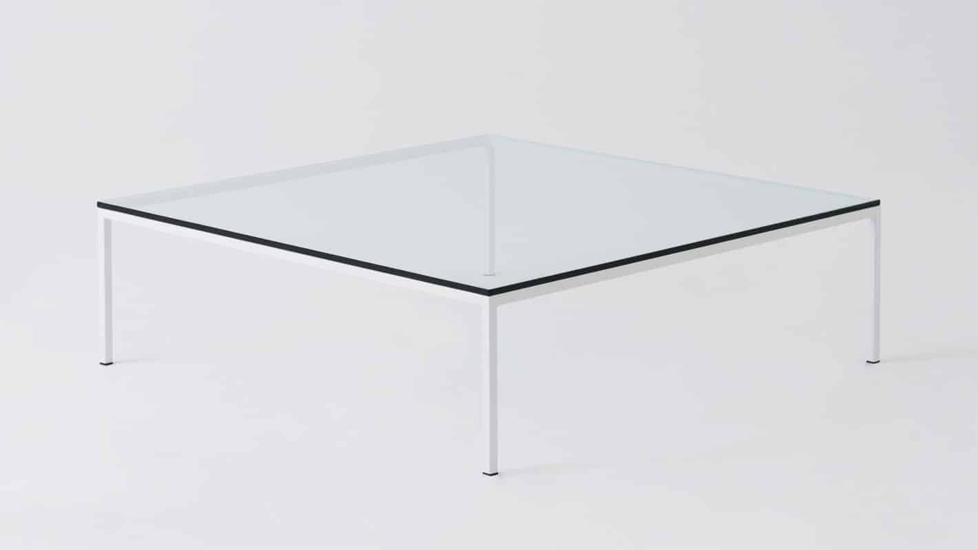 Glass white square coffee table