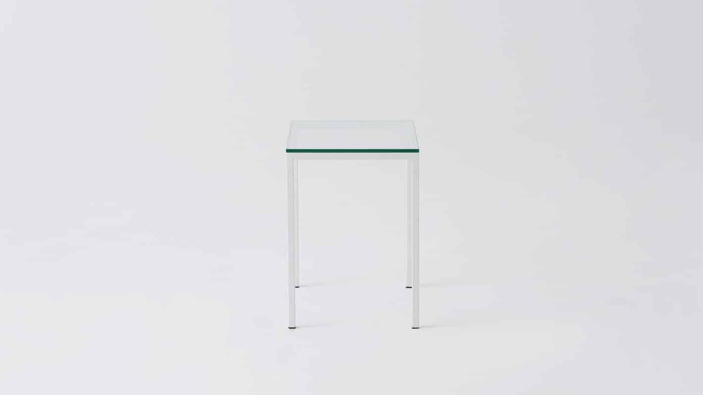 Glass white base end table