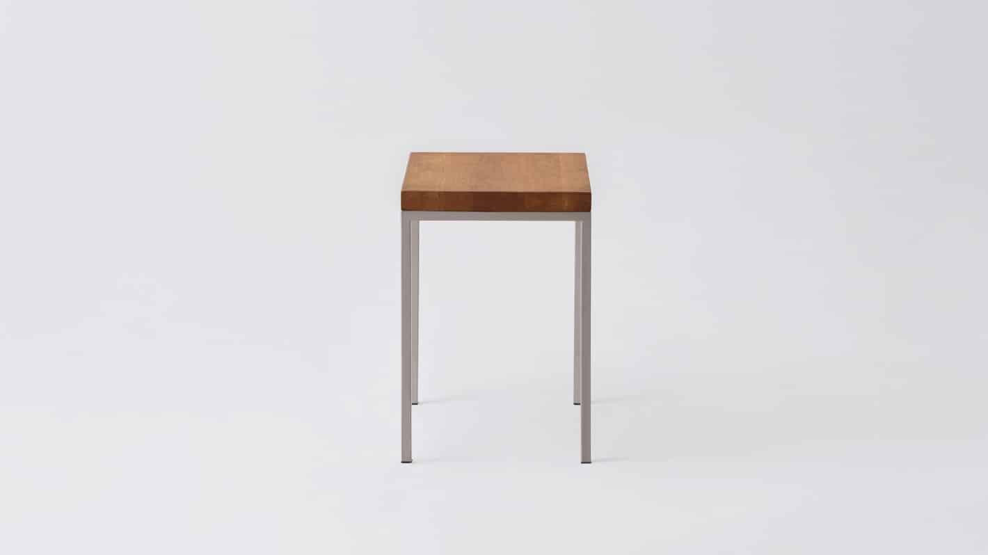 Oak steal base end table