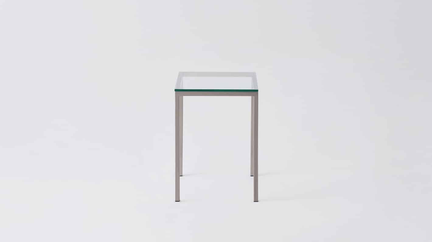 Glass steal base end table
