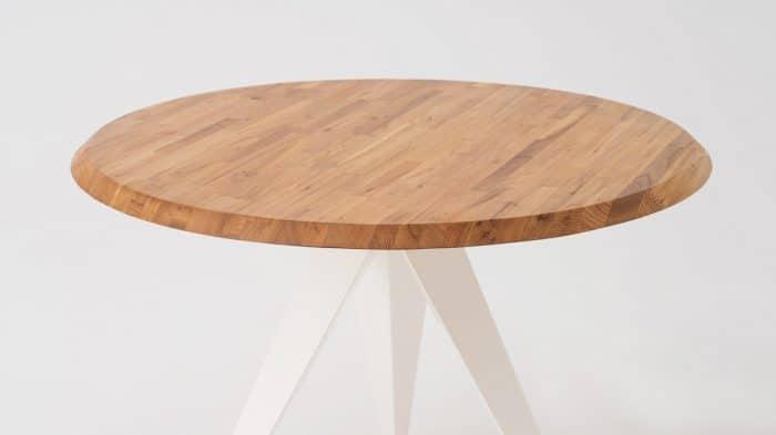 3020 374 opar 7 dinette tables mesa round table oak white base detail 01