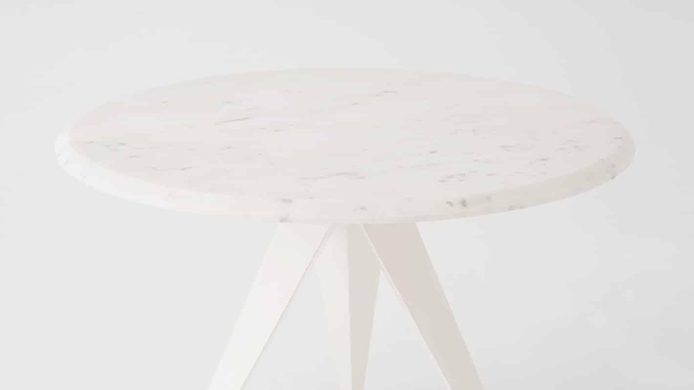 3020 374 wmpar 7 dinette tables mesa round table white marble white base detail 01