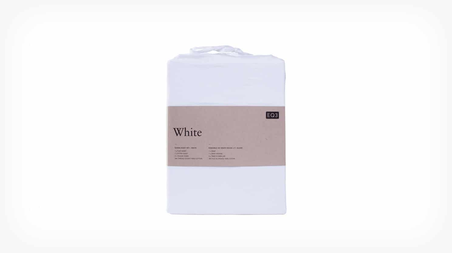 White Cotton Queen Sheet Set Packaged