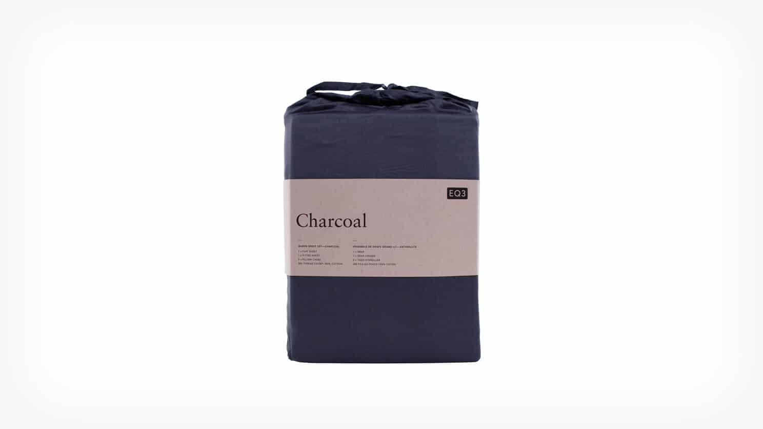 Charcoal Cotton King Sheet Set Packaged