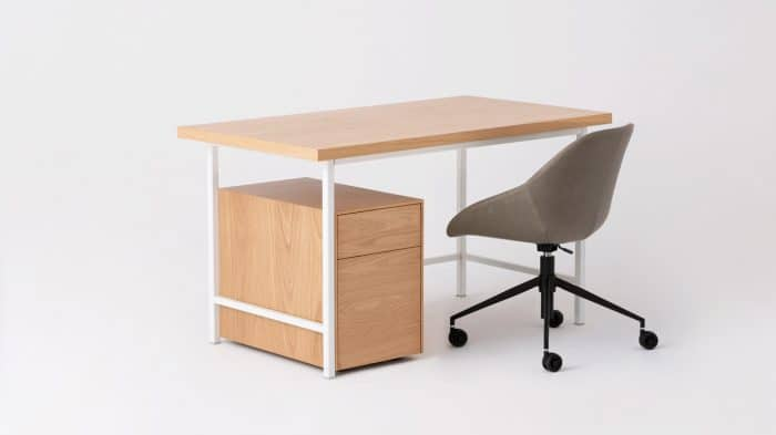 kendall desk oak top white base corner 03