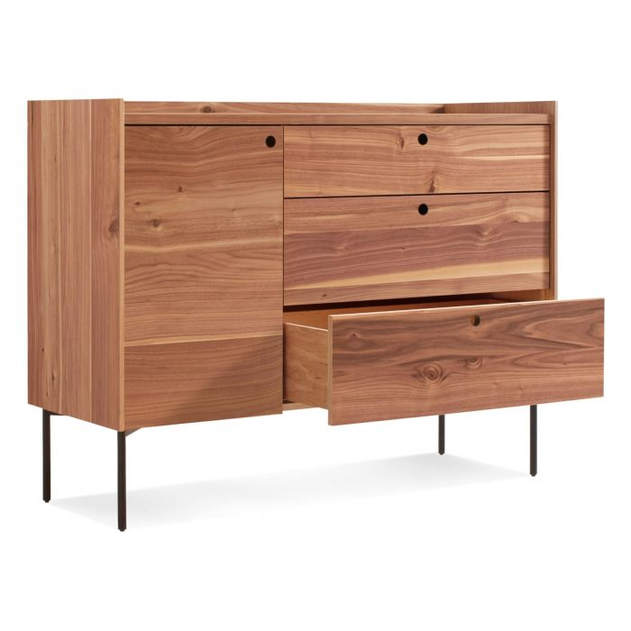 ek1 1d3drw wl 34 open peek 1 door 3 drawer credenza rustic walnut 2