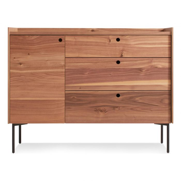 ek1 1d3drw wl peek 1 door 3 drawer credenza rustic walnut 1