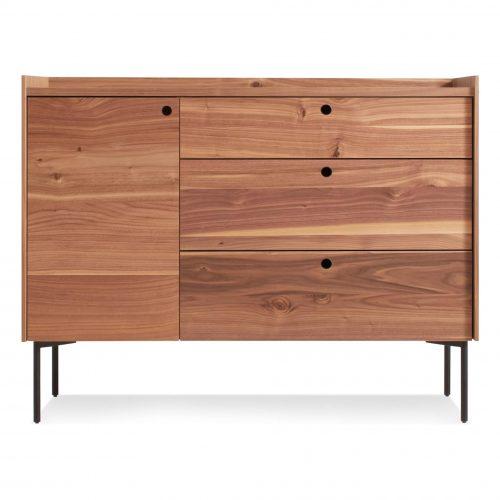 ek1 1d3drw wl peek 1 door 3 drawer credenza rustic walnut
