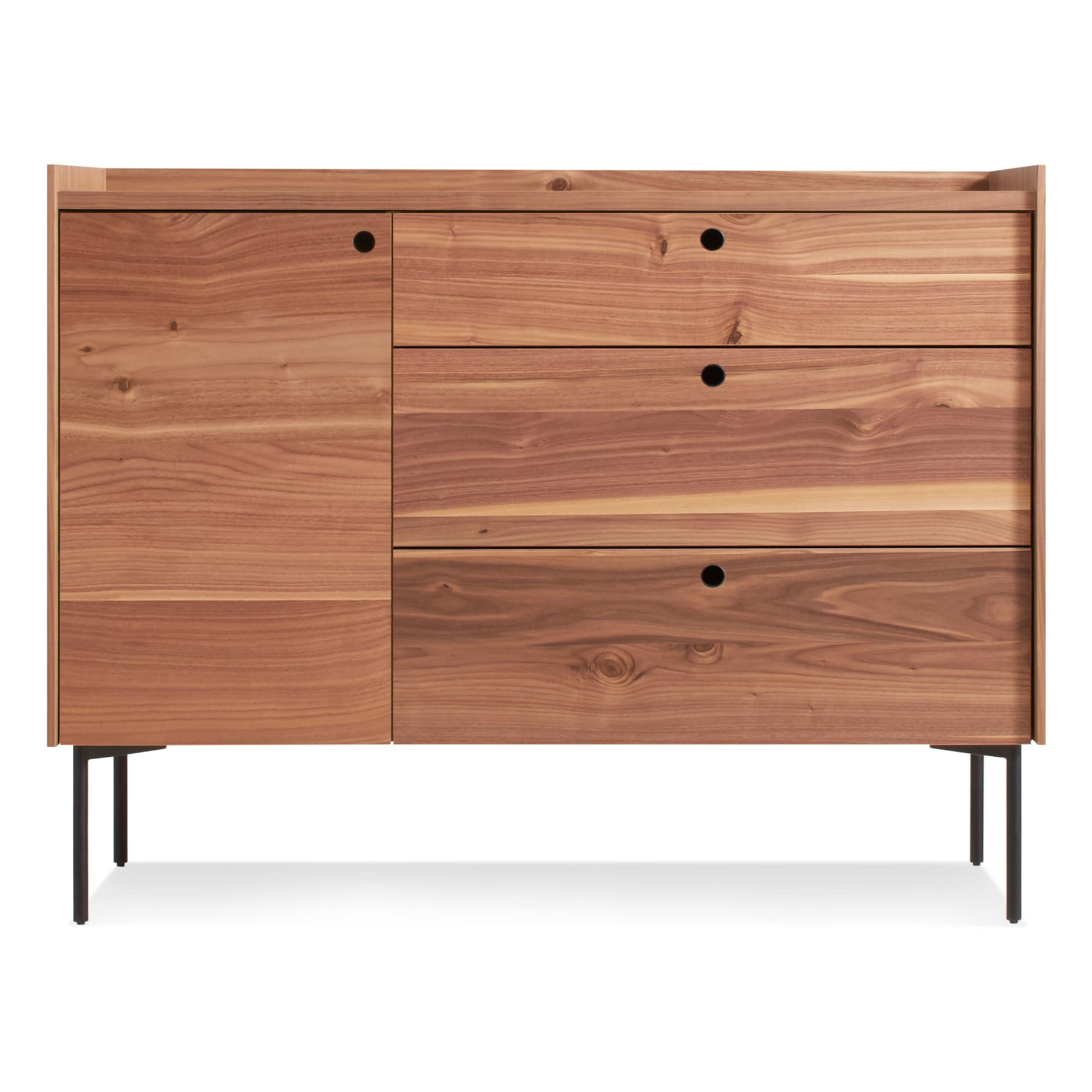 ek1 1d3drw wl peek 1 door 3 drawer credenza rustic walnut