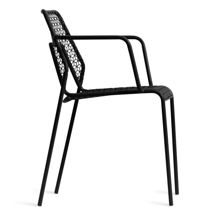 hm1 armchr bk side hot mesh armchair black