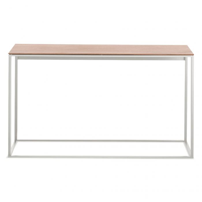 minimalista console table white walnut mirror front