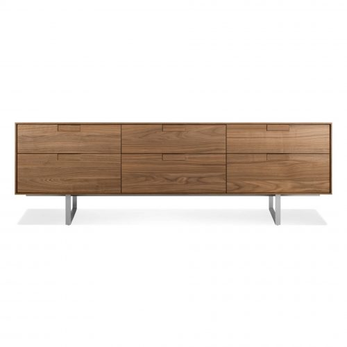 se1 6dwcon wl series 11 6 drawer console walnut