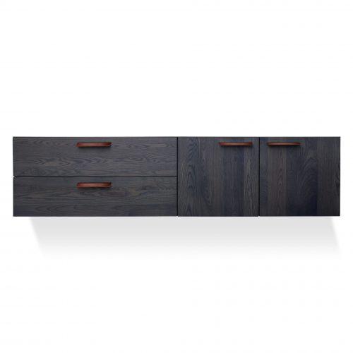 shale 2 door 2 drawer wall mounted cabinet smoke 3