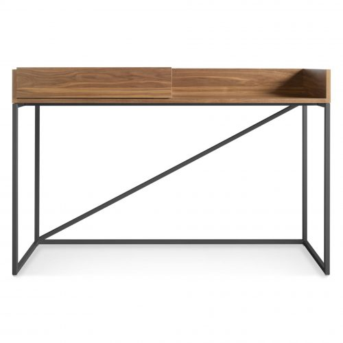 swish modern console desk walnut grey open front 3