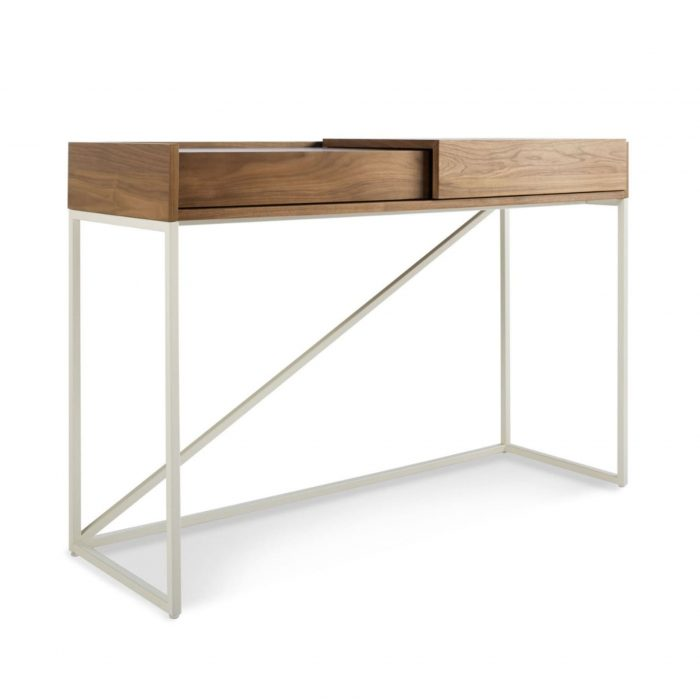 swish modern console desk walnut white 3 4 1 3