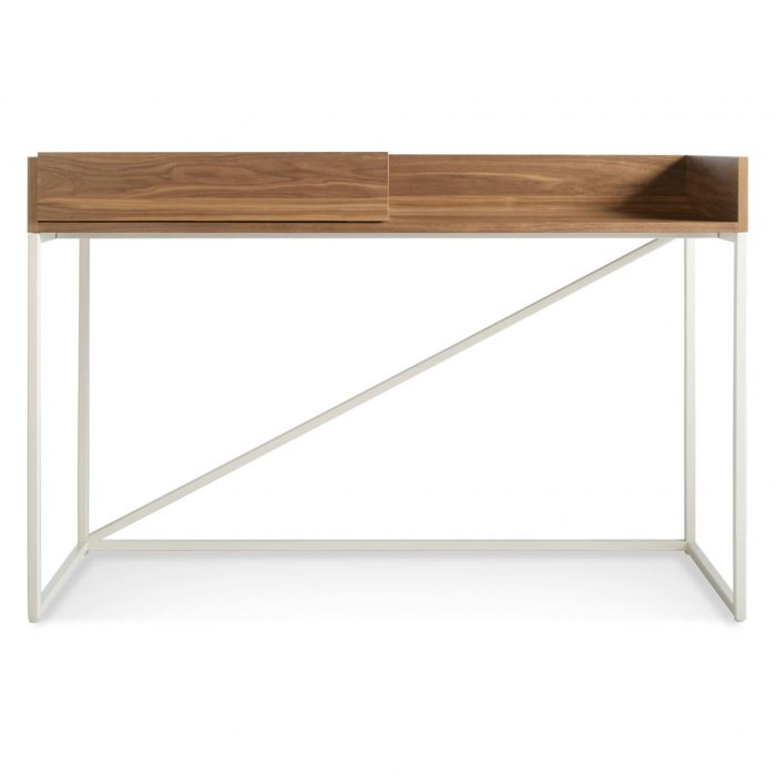 swish modern console desk walnut white open front 2