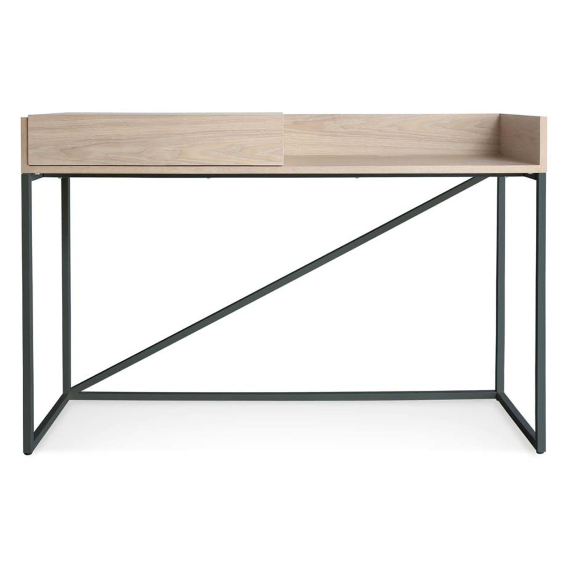 swish modern console desk white ash matte slate