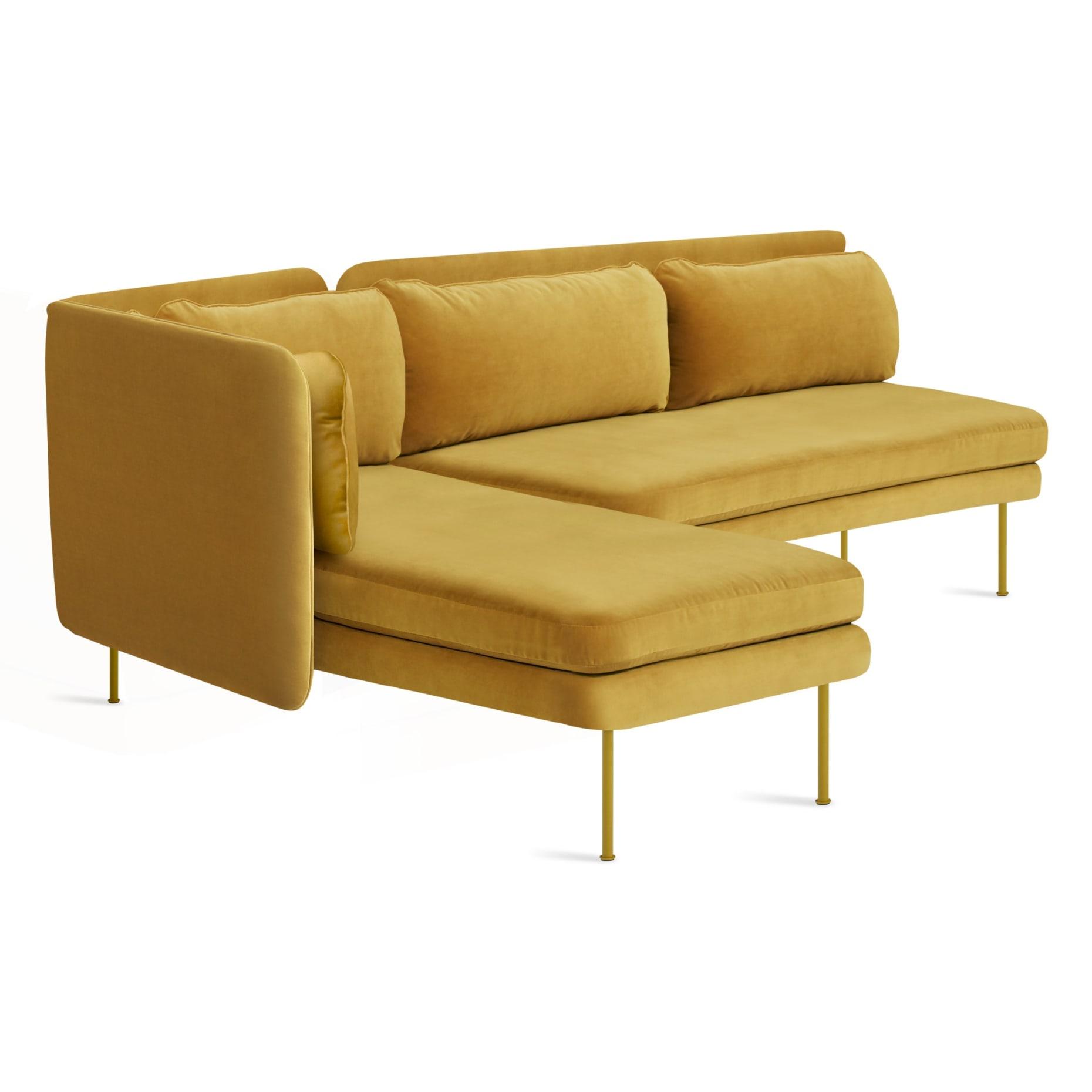 bl1 lchnam oc 34high bloke armless sofa left chaise ochre velvet