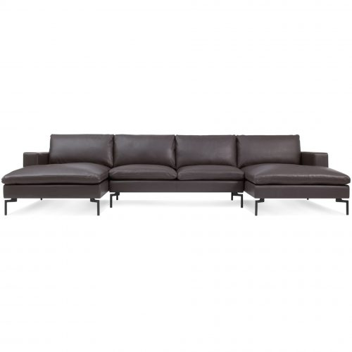 ns1 usecbk br new standard u shaped sectional dark brown leather