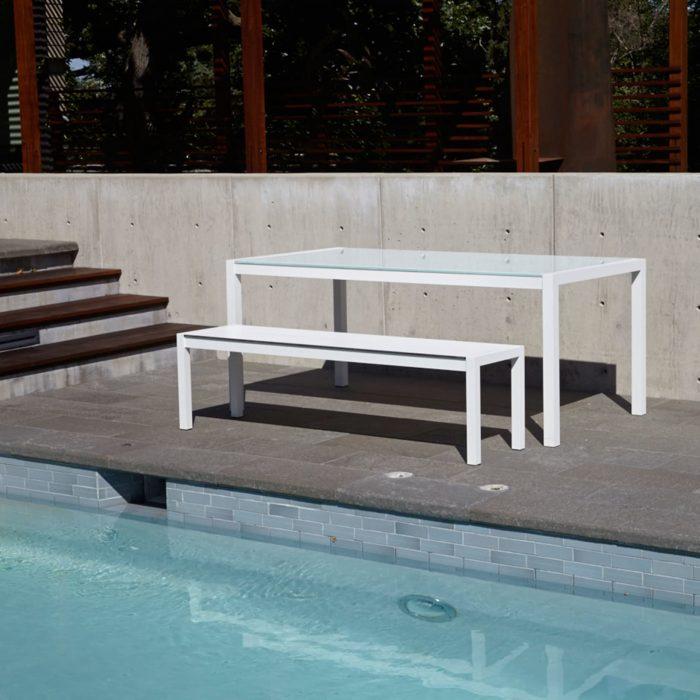 skiff modern outdoor bench pool 2